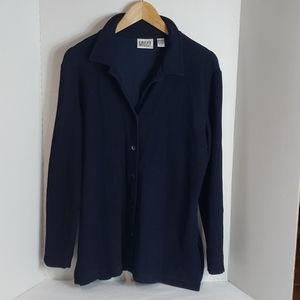 Chico's Design Blue Long Sleeve Button Up,  2